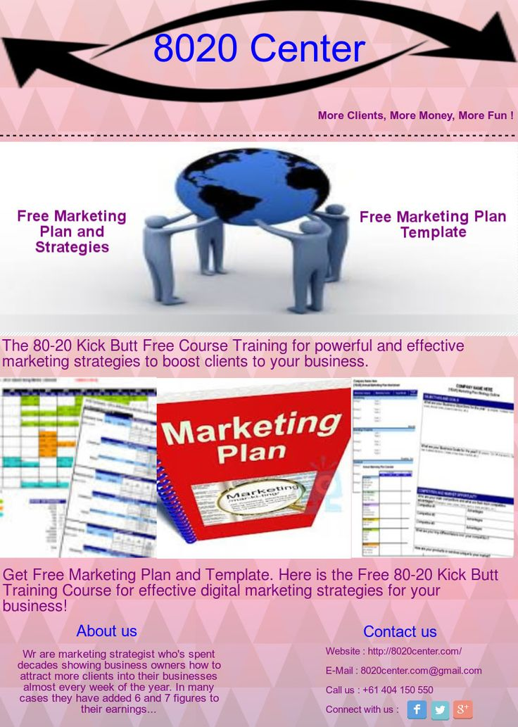 Free Marketing Plan & Template, the 80-20 Kick Butt Free Course Training for powerful and effective marketing strategies to boost clients to your business.http://www.8020center.com/FreeMarketingPlan/