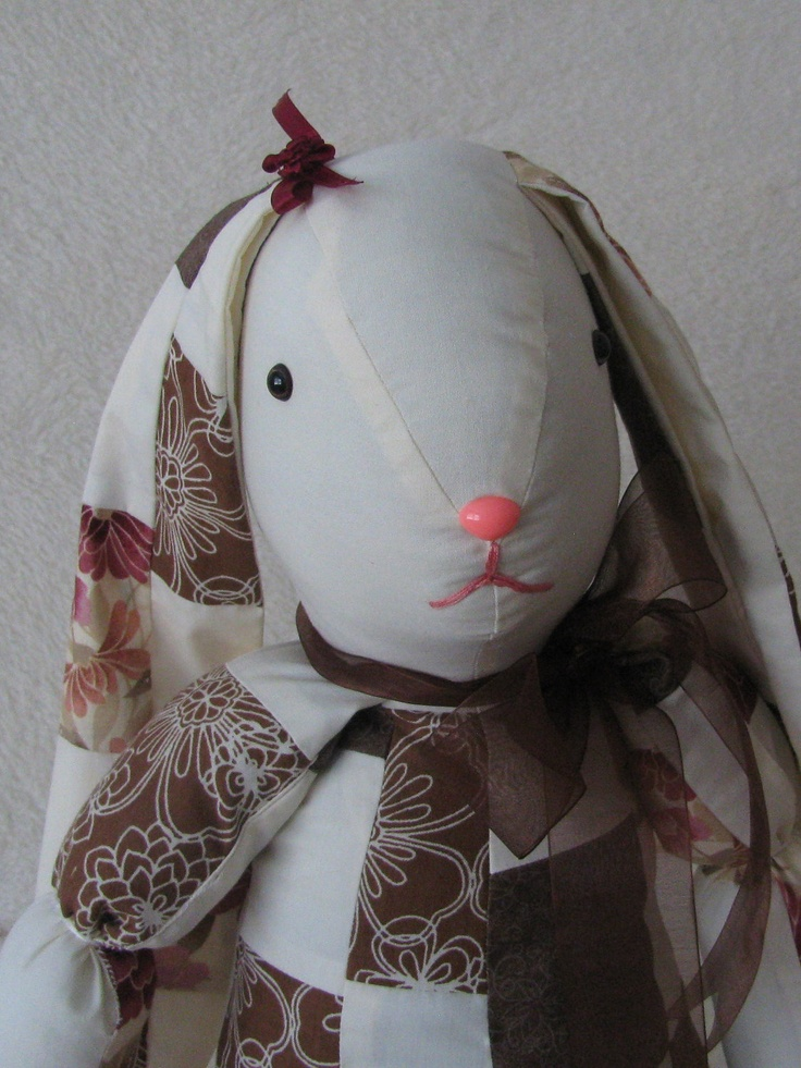 Brown and White Patchwork Bunny Rabbit by NeedaCritter on Etsy