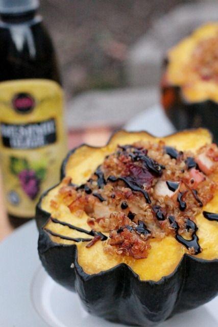 Quinoa & Apple Stuffed Acorn Squash by Daily Garnish