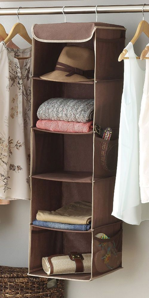 Hanging Closet Organizer Shelving Storage Wardrobe Clothes Hanger Rod Shelves #Whitmor