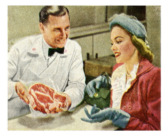 That's Some Heavily Marbled Meat by paul.malon, via Flickr. #vintage #1940s #grocery_store #supermarket
