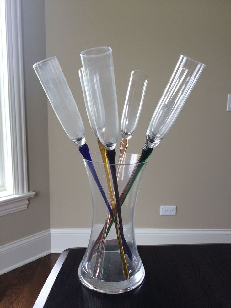 Long Stem Bouquet Of 6 Champagne Flutes Vase Trendy