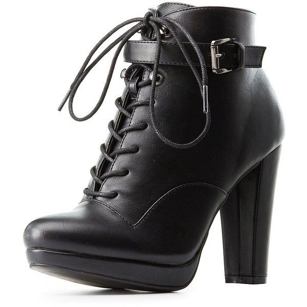 Charlotte Russe Buckled Lace-Up Combat Booties (£22) ❤ liked on Polyvore featuring shoes, boots, ankle booties, black army boots, lace up booties, army boots, buckle booties and black lace up booties