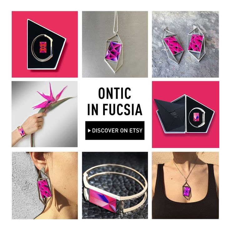 Bright colors to say welcome to summer! Today Ontic is in electric pink! Discover and shop on our #Etsy page: onti.cc/1GoSW88 | #Ontic #3dPrintedJewelry #EletricPink