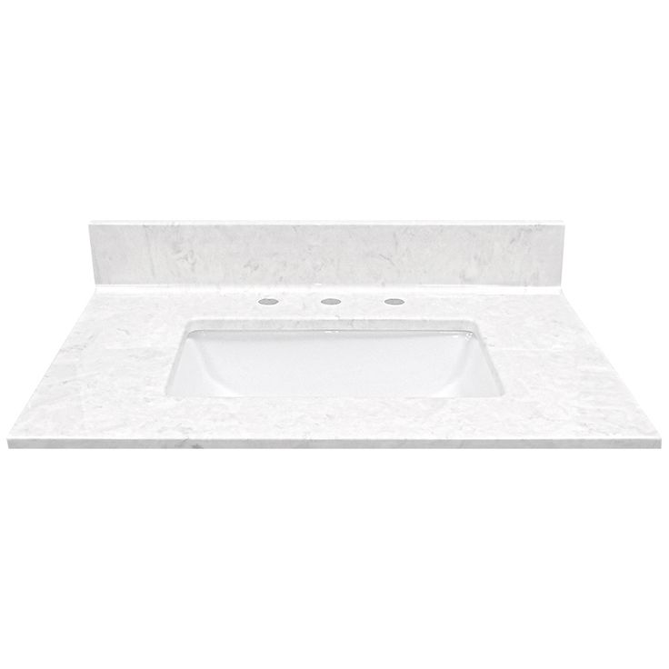 US Marble Steel Grey On White Cultured Marble Undermount Single Sink Bathroom Vanity Top (Common: 31-in x 22-in; Actual: 31-in x 22-in)