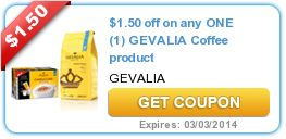 $1.50 off on any ONE (1) GEVALIA Coffee product