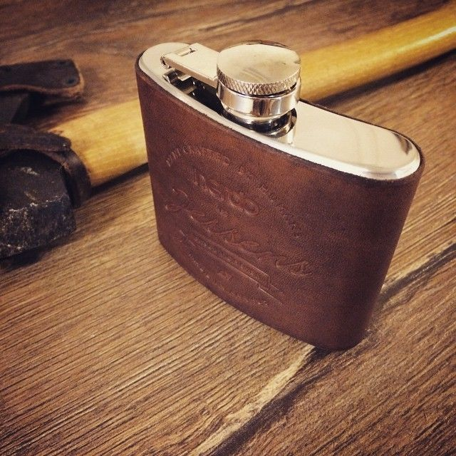 Hip flask leather cover