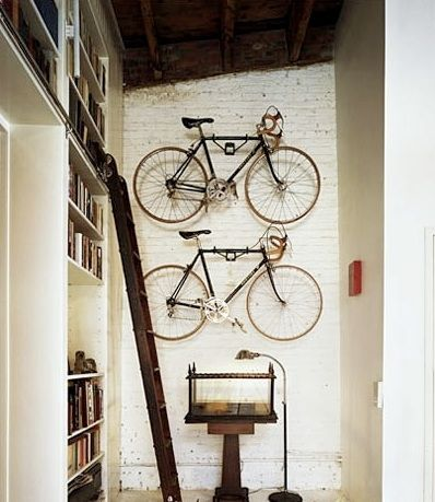 bikes on brick wall
