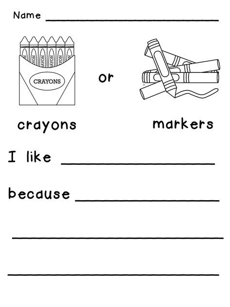 This or That? Opinion Writing Prompts for Beginning