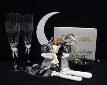 Lot Glasses Knife Server Book Wedding Cake Topper W HARLEY Davidson Motorcycle