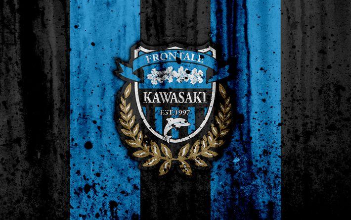 Download wallpapers FC Kawasaki Frontale, 4k, logo, J-League, stone texture, Japan, Kawasaki Frontale, soccer, football club, Kawasaki Frontale FC