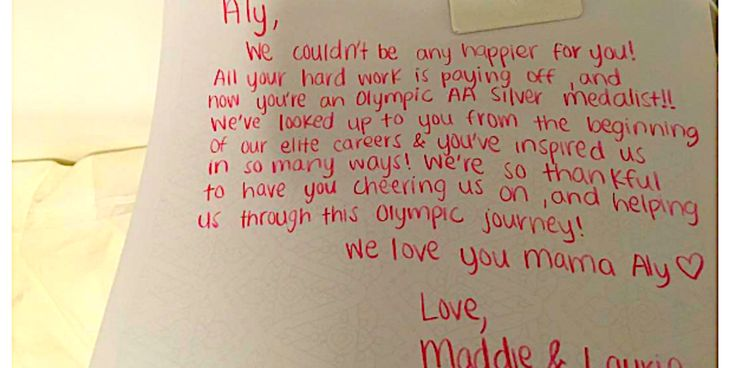 Here's The Note Aly Raisman Found On Her Bed After Winning Silver