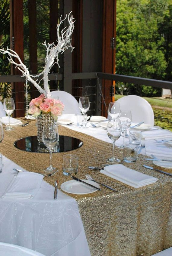 Sequin Table Runner  Gold 12 x 108  Bridal Shower Decorations  Pinterest  Bridal showers