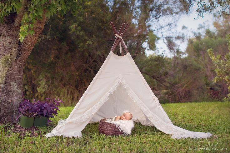 Tampa Newborn Photographer, Tiffany Walensky Photography... outside, outdoors, lace tent, baby bucket, sleeping pose, white fur