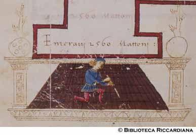 Ricc. 2669, FILIPPO CALANDRI, Trattato di aritmetica Sec. XV, fine; Firenze; bottega di Boccardino il vecchio.  Conto dei mattoni per una pavimentazione, c. 92r