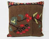 24x24 craft kilim pillow brown throw pillow forest fruit decorative pillow tapestry pillow cover body pillow case tribal cushion cover 24424