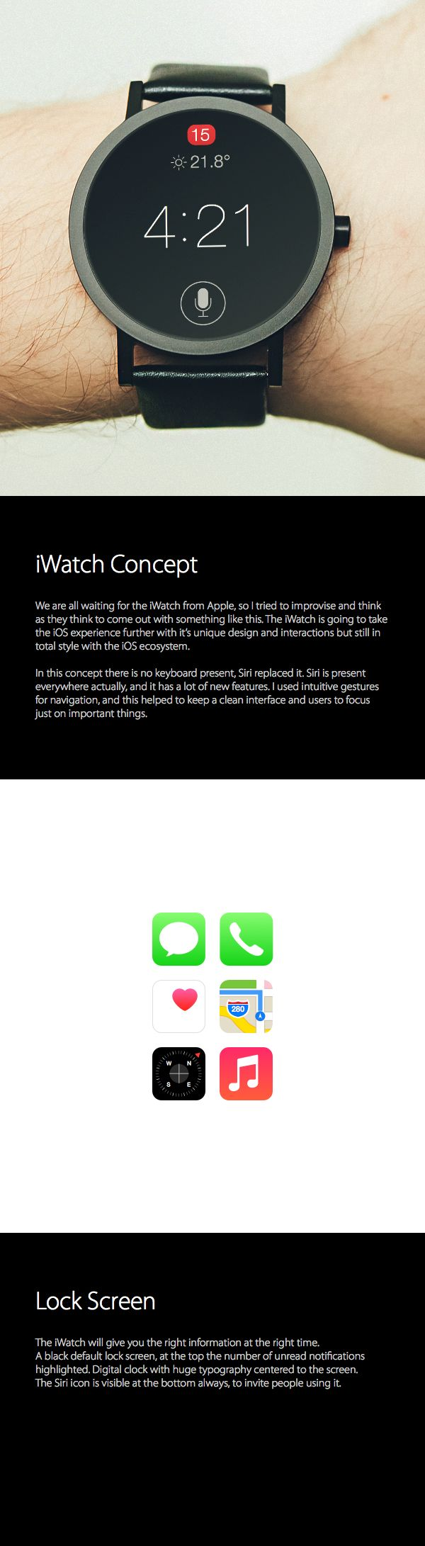 iWatch & Wearable iOS Concept by Luan Gjokaj, via Behance