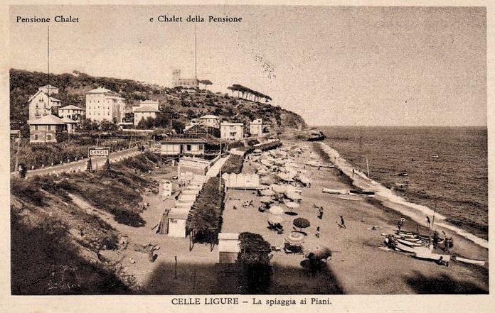 CELLE LIGURE (SV) Pensione Chalet e spiaggia ai Piani , 1933