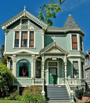 turquoise Victorian house by jum jum