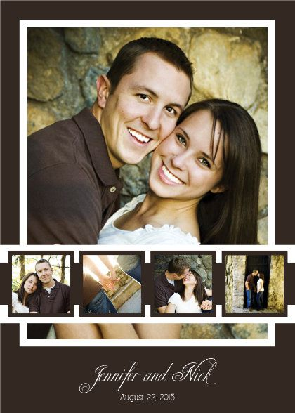 Double Sided Photo Wedding Invitation spots for 6 photos.