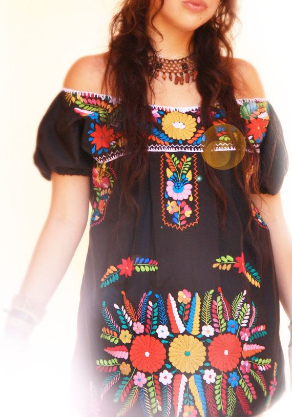 Mexican embroidered mini dress navy floral boho by AidaCoronado