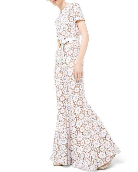 6ed3c27cc4169 Get free shipping on Michael Kors Collection Floral Guipure Lace Flare-Leg  Jumpsuit at Neiman