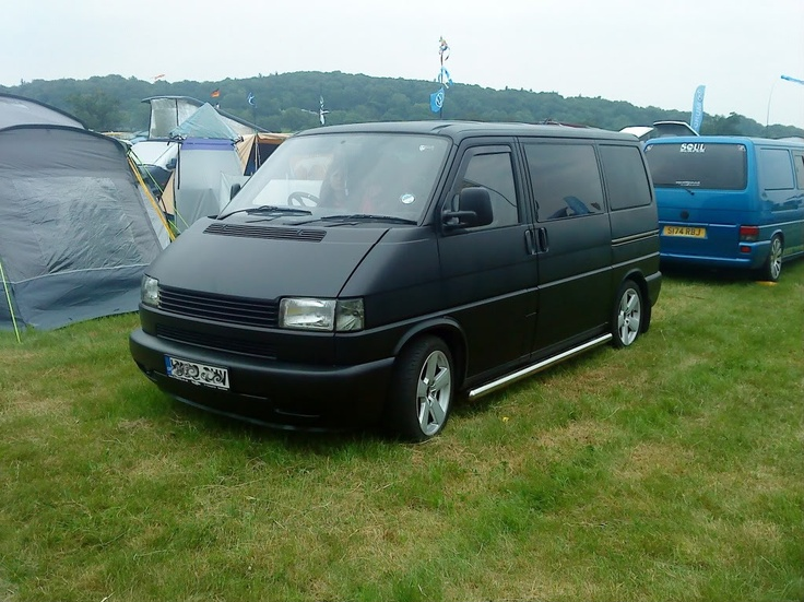 Matt (satin?) black VW T4 Transporter van. I think this is inspiration for mine!