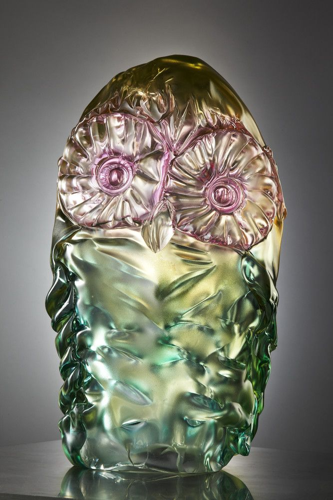 Unique Art glass piece Owl, design by Ludvig Löfgren for Kosta Boda