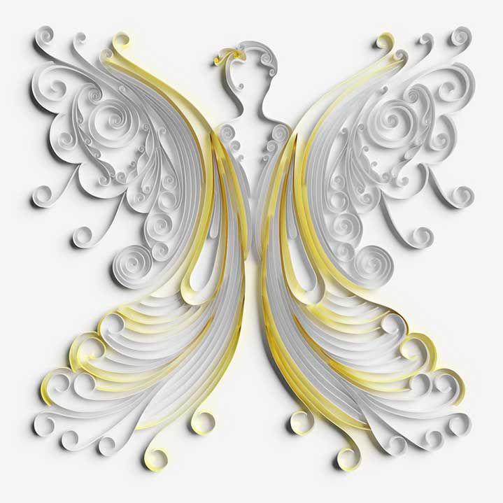 Jitesh Patel 2&3 3D quilling xmas card angel illustration
