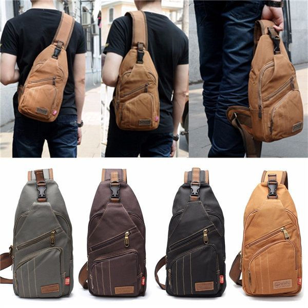 $19.77  Men Canvas Travel Hiking Crossbody Bag Casual Chest Bag is worth buying…crossbody bag| Leisure Shoulder Chest Bag| men's bags| men's shoulder bags|