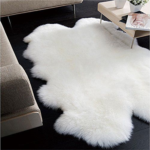 Plush Faux Fur Shaggy Shag - Soft Sheepskin Pelt Rug - Rectangle with Natural Edges RealisticWhite or Off White - Shag - Soft Ultra Suede Backing - Area Rug (8'x10', White)