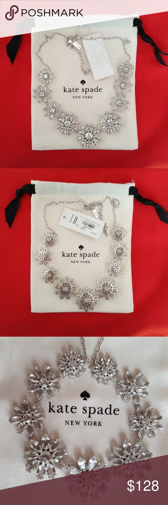 BRAND NEW KATE SPADE CRYSTAL GARDENS NECKLACE Authentic Kate Spade Crystal Gardens Necklace, sparkling crystals in a floral design, silvertone, lobster clasp. Brand new with tags in mint condition and designer gift pouch, foiled necklace gift box also included. Kate Spade Jewelry Necklaces