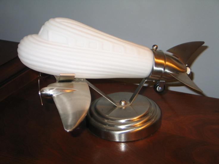 Art Deco Retro Style Airplane Table Desk Lamp Brushed