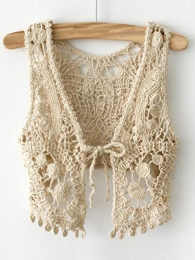 Stylish Cream-coloured Lace Sleeveless Womens Crochet Waistcoat