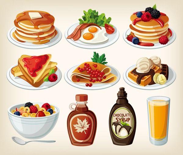 10 models cartoon food design - vector graphics