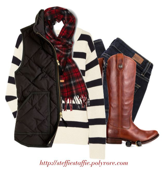 """J.crew striped sweater, Tartan scarf & Frye boots"" by steffiestaffie ❤ liked on Polyvore featuring Paige Denim, Frye, J.Crew, Fred Perry and Kate Spade"