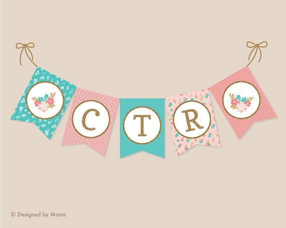 This is a large PRINTABLE CTR banner. The turquoise, pink, coral, and faux gold glitter designs are perfect for your little girls bedroom decor, blessing or baptism celebration. Print the files, cut them out, attach them to a string, and create a memorable get-together. • • • • • INCLUDES PRINTABLE PDF & JPEG FILES ON 8.5 x 11 PAGES: • Banner that spells CTR plus flower designs for ends • About 7 x 9.5 inches each (1 per page) • See second image for file reference • • • • • FILE DELIVERY…