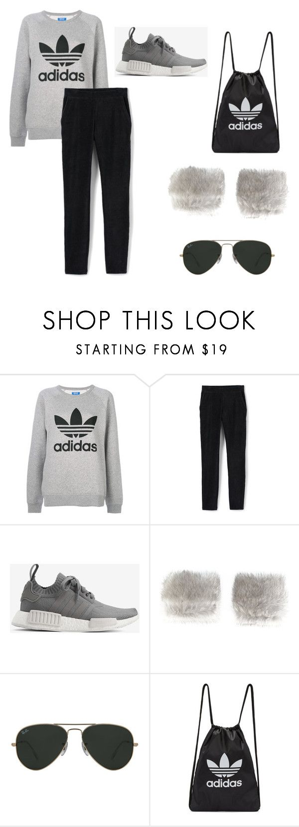 """Sporty outfit"" by eda-kunics on Polyvore featuring adidas Originals, Lands' End, adidas, N.Peal and Ray-Ban"