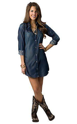 Cowgirl Hardware® Women's Iridescent Denim Long Sleeve Dress   Cavender's Boot City