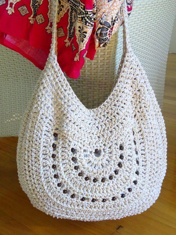 Crochet Bag Cotton Tote Beach Bag Beaded Boho Shoulder Bag | Etsy