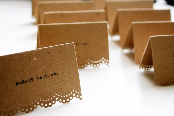40 Wedding Place Cards Vintage Chic Kraft Brown by asapaperdoll