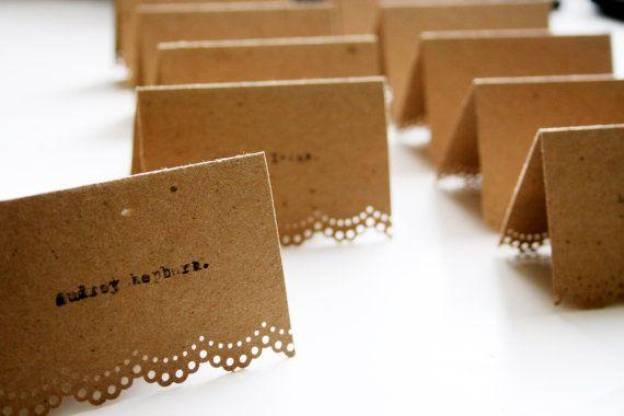 Typewriter 100 Wedding Place Cards - Typewriter Vintage Chic Kraft Brown via Etsy