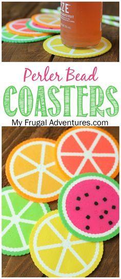 Fun and bright perler bead citrus coasters. Perfect summer craft for children.