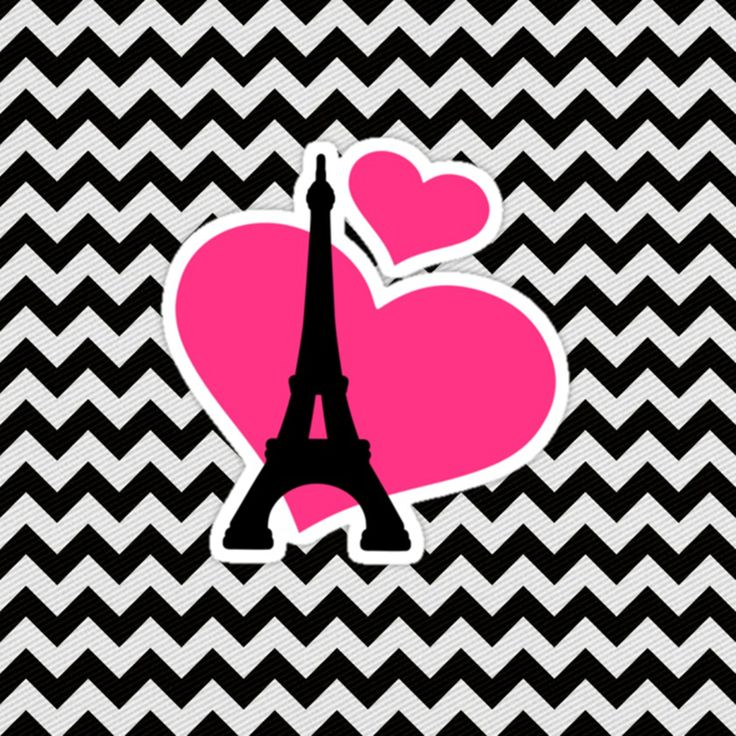 imagem para quadrinho - fundo zig zag preto e branco- torre eiffel -paris-coração rosa- Blog Dikas e diy