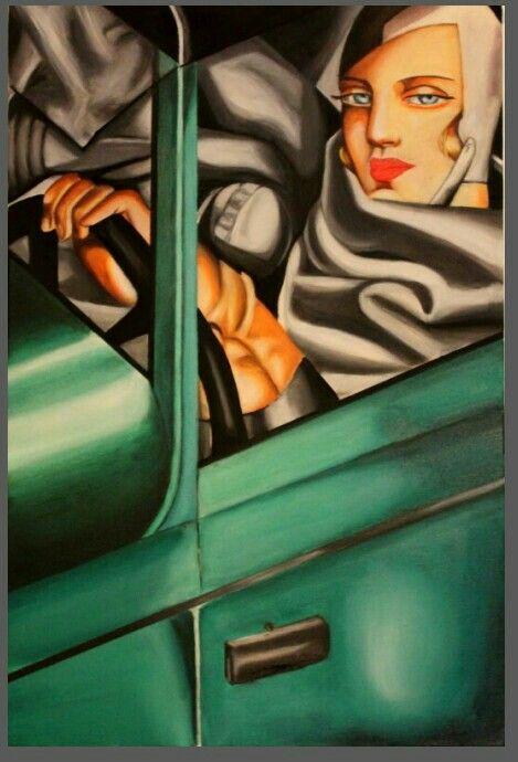 self portrait ,Tamara in a green bugatti