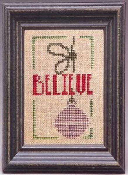 Holiday Reminder Believe is the title of this cross stitch pattern from The Trilogy.