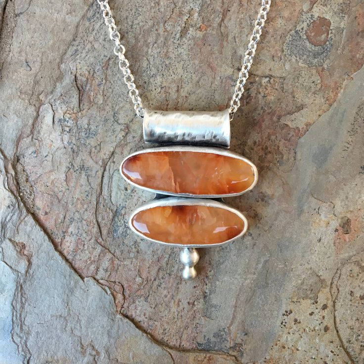 Carnelian and Silver Necklace. Designer Cabochon Jewelry for Charity. NC95 by coldfeetjewelry on Etsy