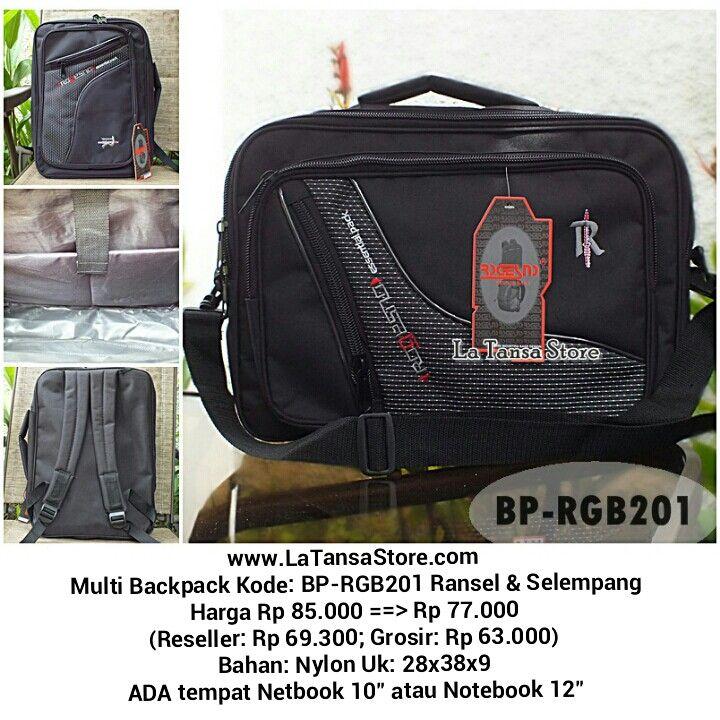 """Multi Backpack Kode: BP-RGB201 Ransel & Selempang Harga Rp 85.000 ==> Rp 77.000 (Reseller: Rp 69.300; Grosir: Rp 63.000) Bahan: Nylon Uk: 28x38x9 ADA tempat Netbook 10"""" atau Notebook 12"""" Berat: +- 0,6 kg Interior: 1 kantong utk laptop Eksterior: 2 kantong resleting bag.depan 1 kantong bagian belakang tas berfungsi sebagai tempat tali ransel apabila digunakan sebagai tas selempang/jinjing sehingga tas terlihat rapi = Tas Import Murah La Tansa Store - www.latansastore.com = Website…"""
