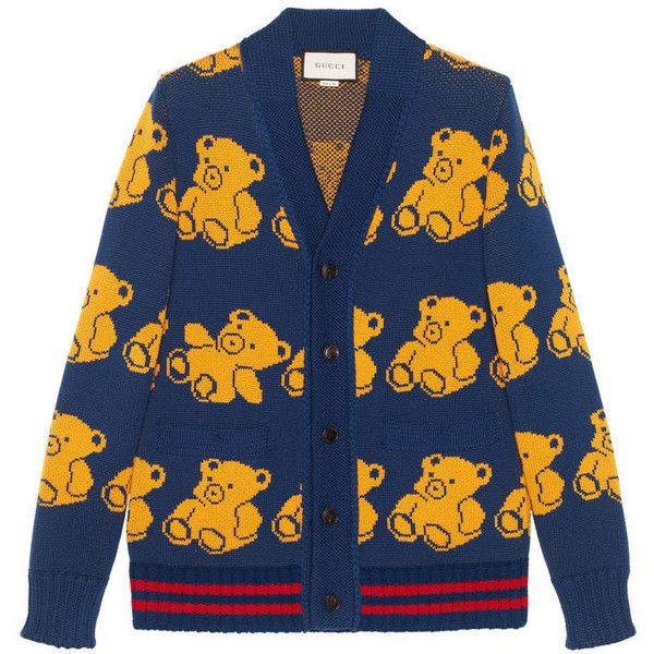 Gucci Wool Teddy Bear Cardigan (€785) ❤ liked on Polyvore featuring men's fashion, men's clothing, men's sweaters, men, ready to wear, mens yellow sweater, mens wool cardigan sweaters, mens cardigan sweaters, gucci mens sweater and mens wool sweaters