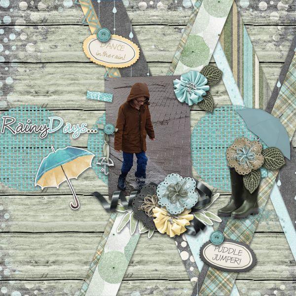 Rainy Days - digital scrapbook layout -    Credits:  Just Can't Get Enough {Bumbershoots} bundle by Mandy King - part of the April buffet at Gingerscraps -    Rain Spring digiscrap    http://store.gingerscraps.net/Just-Can-t-Get-Enough-Bumbershoots-BUNDLE.html